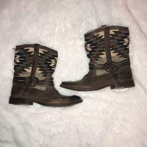 Frye Navajo Blanket wool boots size 8.5